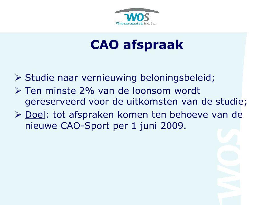 CAO afspraak  Studie naar vernieuwing beloningsbeleid;  Ten minste 2% van de loonsom wordt gereserveerd voor de uitkomsten van de studie;  Doel: tot afspraken komen ten behoeve van de nieuwe CAO-Sport per 1 juni 2009.