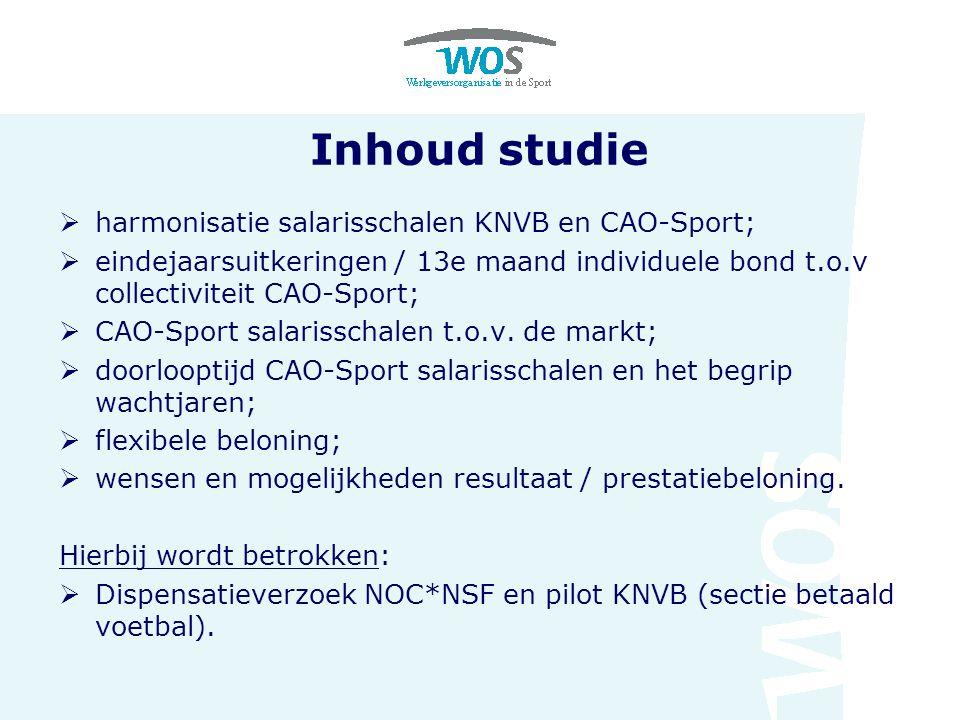 Inhoud studie  harmonisatie salarisschalen KNVB en CAO-Sport;  eindejaarsuitkeringen / 13e maand individuele bond t.o.v collectiviteit CAO-Sport;  CAO-Sport salarisschalen t.o.v.