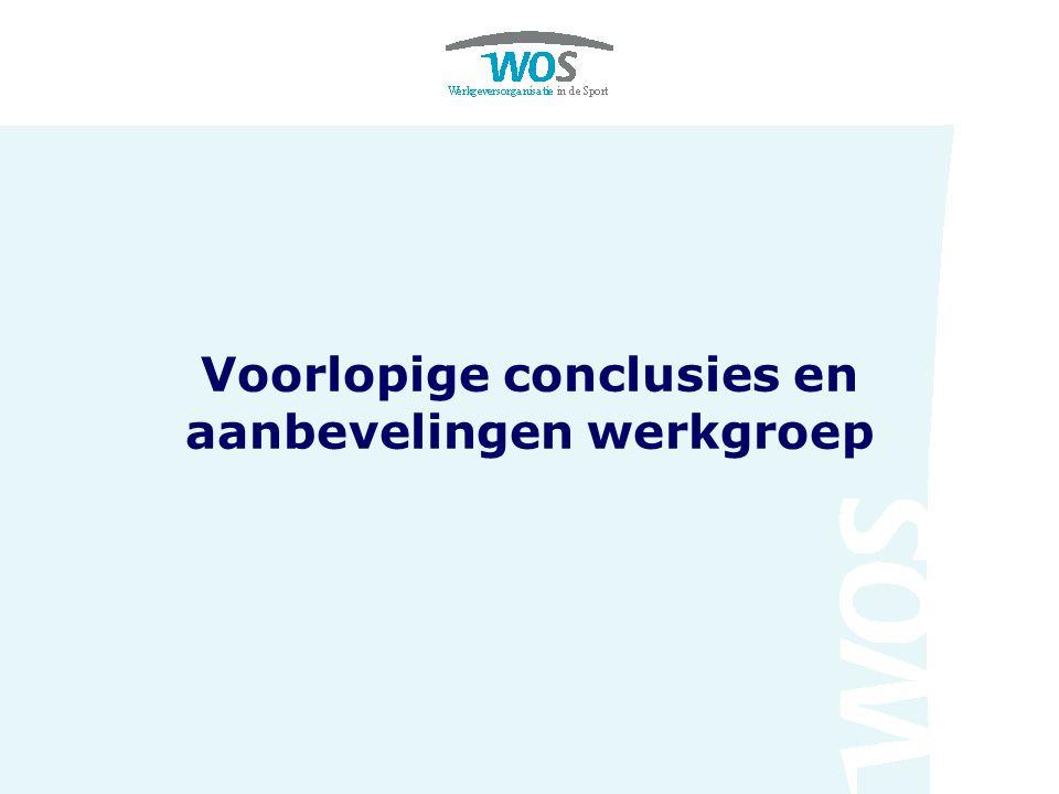 Voorlopige conclusies en aanbevelingen werkgroep