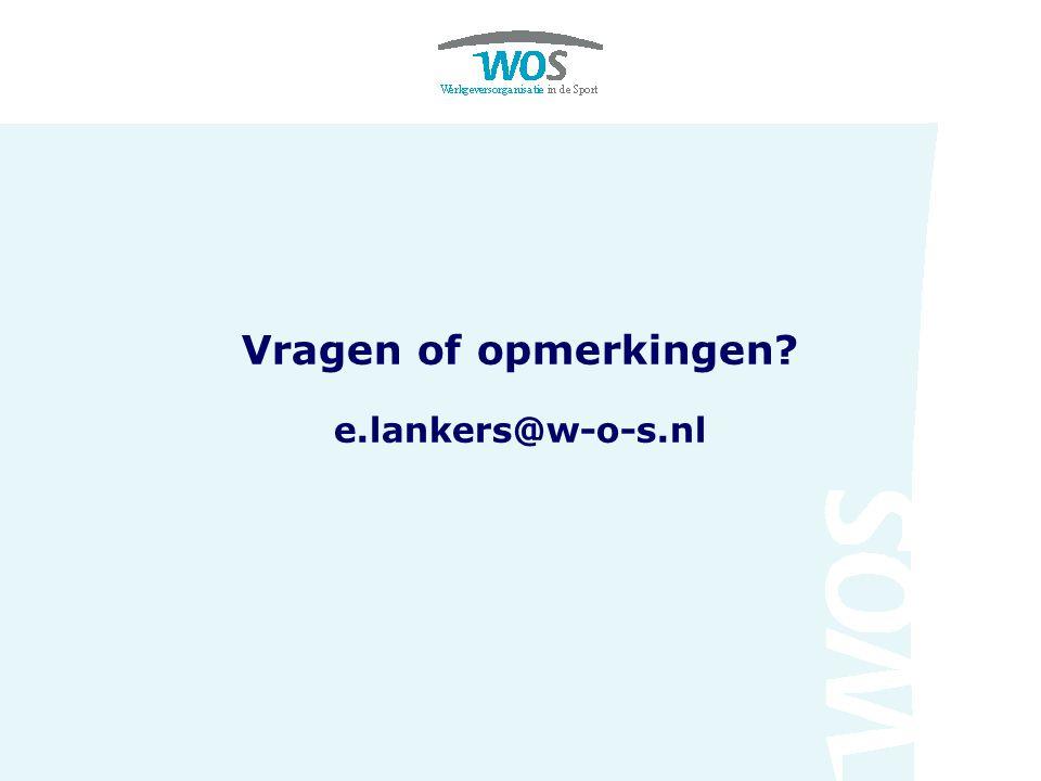 Vragen of opmerkingen e.lankers@w-o-s.nl