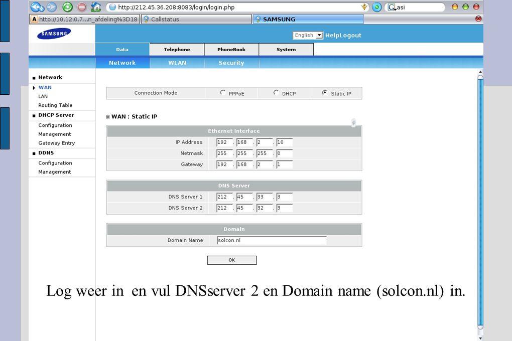 Ga naar Telephone, VoIP en Account Registr je ziet dat het toestel zich op de SIPserver heeft geregistreerd.