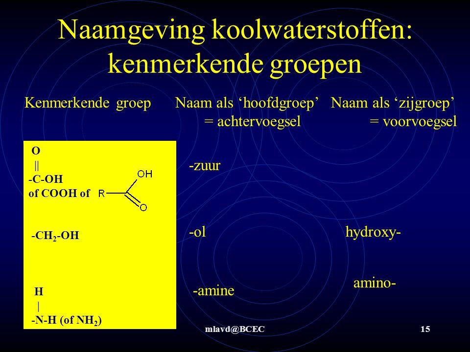 mlavd@BCEC15 Naamgeving koolwaterstoffen: kenmerkende groepen O || -C-OH of COOH of -CH 2 -OH H | -N-H (of NH 2 ) -zuur hydroxy--ol -amine amino- Kenmerkende groep Naam als 'hoofdgroep' Naam als 'zijgroep' = achtervoegsel = voorvoegsel