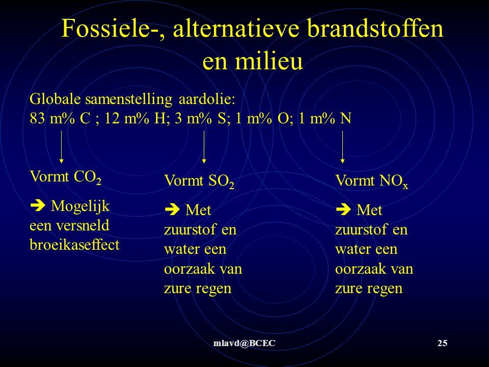 mlavd@BCEC25 Fossiele-, alternatieve brandstoffen en milieu Globale samenstelling aardolie: 83 m% C ; 12 m% H; 3 m% S; 1 m% O; 1 m% N Vormt CO 2  Mogelijk een versneld broeikaseffect Vormt SO 2  Met zuurstof en water een oorzaak van zure regen Vormt NO x  Met zuurstof en water een oorzaak van zure regen