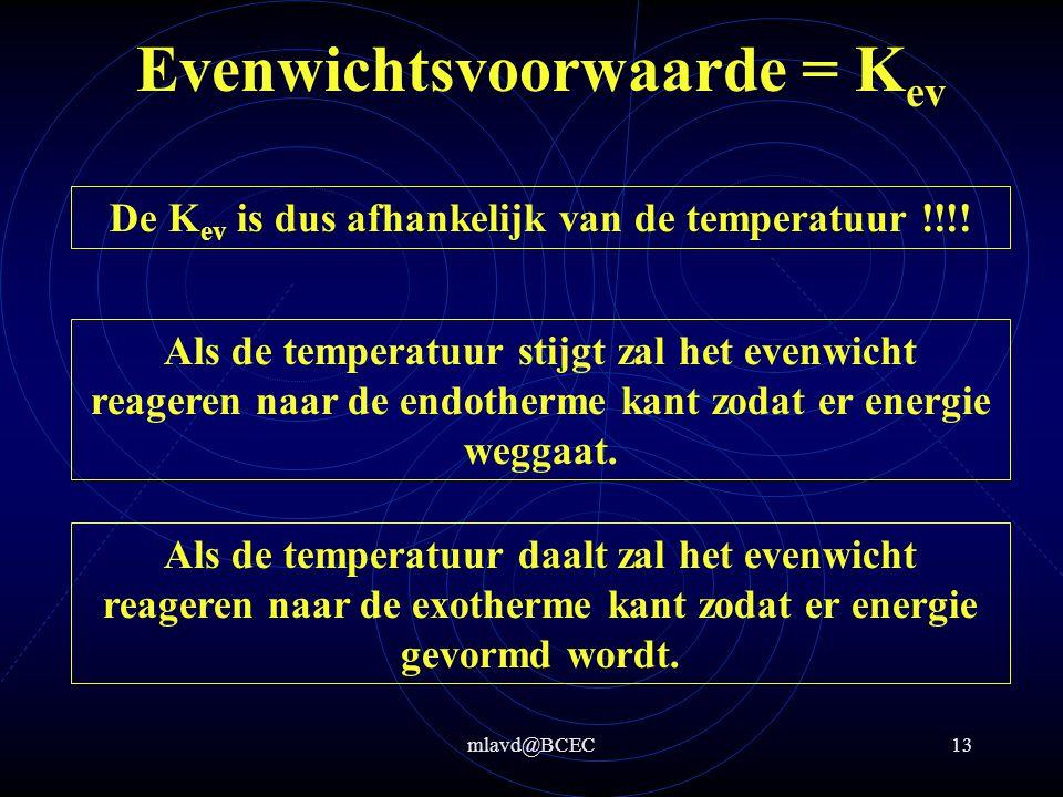 mlavd@BCEC12 Evenwichtsvoorwaarde = K ev Blijft de K ev constant bij een verandering van temperatuur .