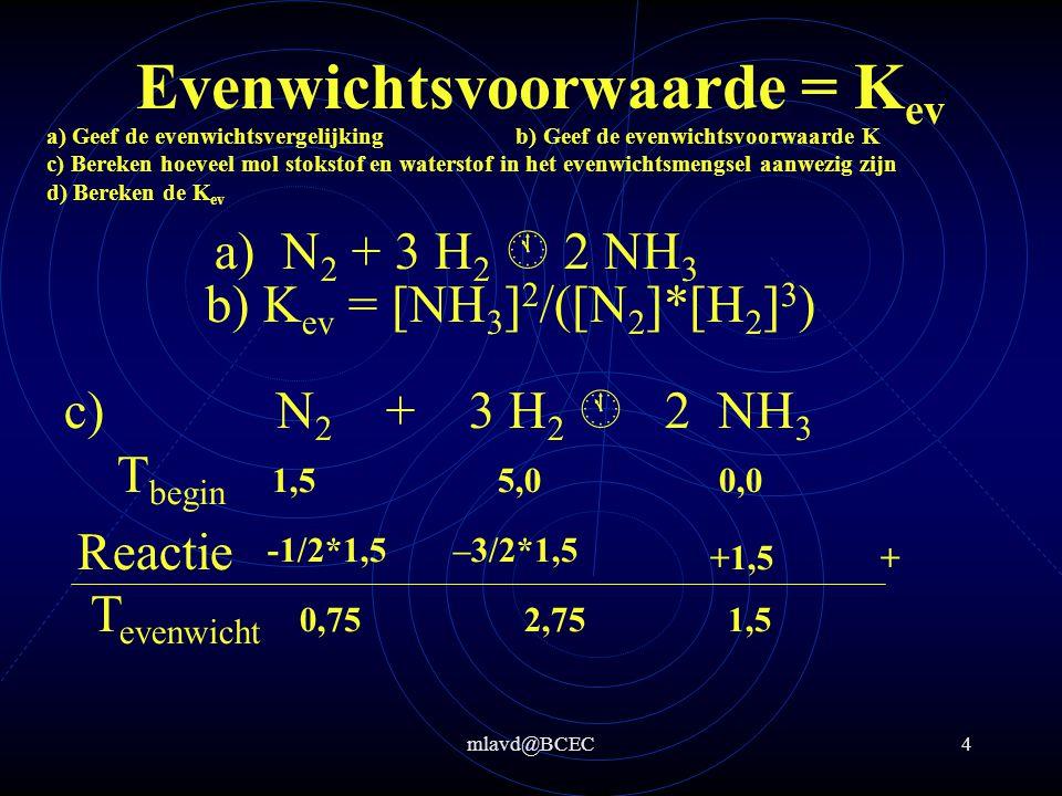 mlavd@BCEC3 Evenwichtsvoorwaarde = K ev In een vat van 2,0 L wordt 42 gram stikstof en 10 gram waterstof gedaan.
