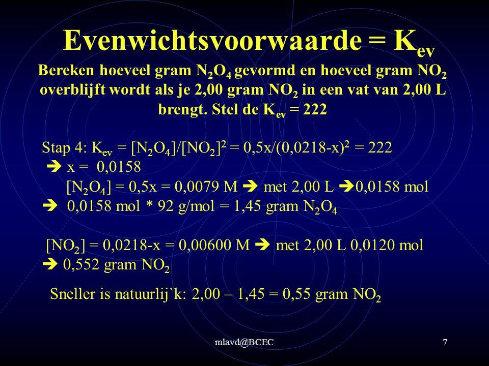 mlavd@BCEC6 Evenwichtsvoorwaarde = K ev Bereken hoeveel gram N 2 O 4 gevormd wordt en hoeveel gram NO 2 overblijft als je 2,00 gram NO 2 in een vat van 2 L brengt.