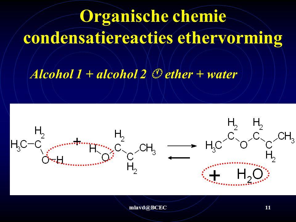 mlavd@BCEC11 Organische chemie condensatiereacties ethervorming Alcohol 1 + alcohol 2  ether + water