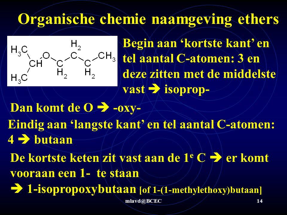 mlavd@BCEC14 Organische chemie naamgeving ethers Begin aan 'kortste kant' en tel aantal C-atomen: 3 en deze zitten met de middelste vast  isoprop- Da
