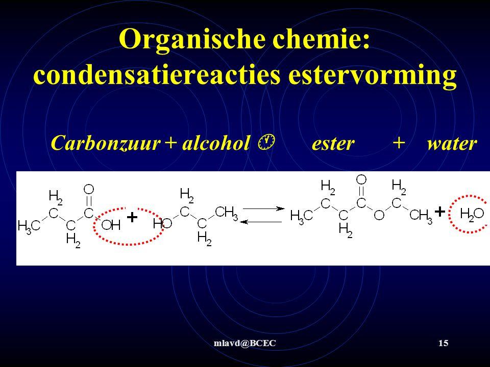 mlavd@BCEC15 Organische chemie: condensatiereacties estervorming Carbonzuur + alcohol  ester + water