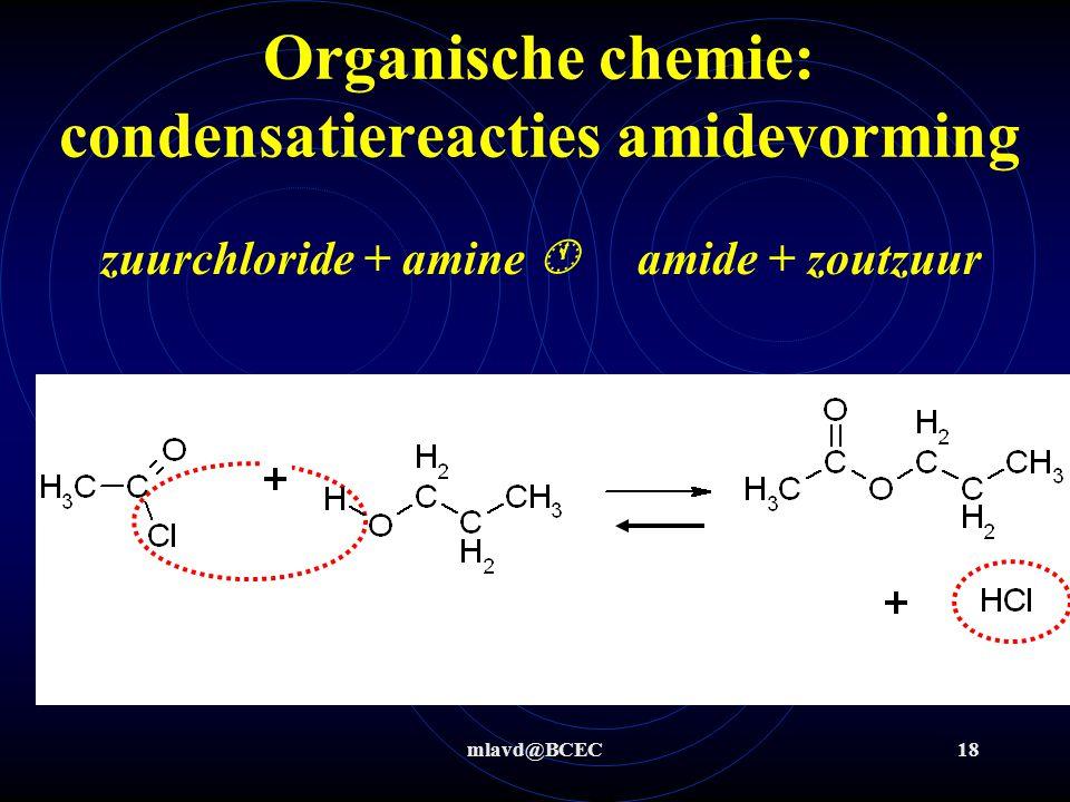 mlavd@BCEC18 Organische chemie: condensatiereacties amidevorming zuurchloride + amine  amide + zoutzuur