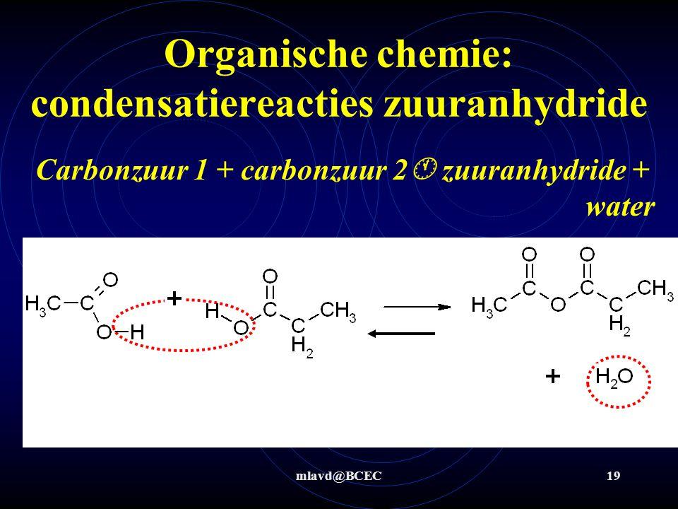 mlavd@BCEC19 Organische chemie: condensatiereacties zuuranhydride Carbonzuur 1 + carbonzuur 2  zuuranhydride + water