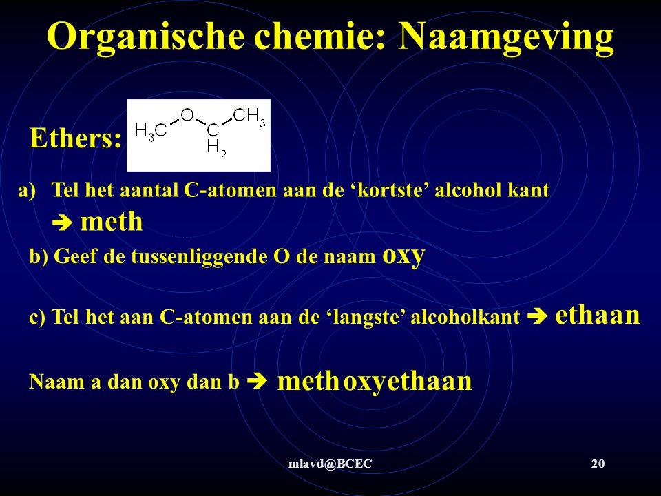 mlavd@BCEC20 Organische chemie: Naamgeving Ethers: a)Tel het aantal C-atomen aan de 'kortste' alcohol kant  meth b) Geef de tussenliggende O de naam