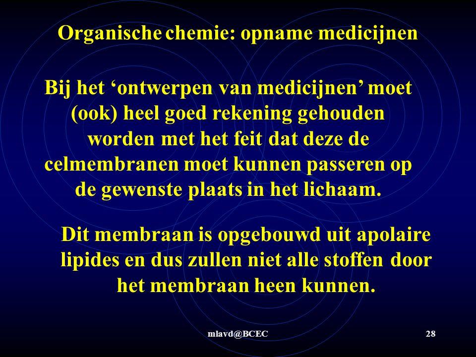 mlavd@BCEC28 Organische chemie: opname medicijnen Bij het 'ontwerpen van medicijnen' moet (ook) heel goed rekening gehouden worden met het feit dat de