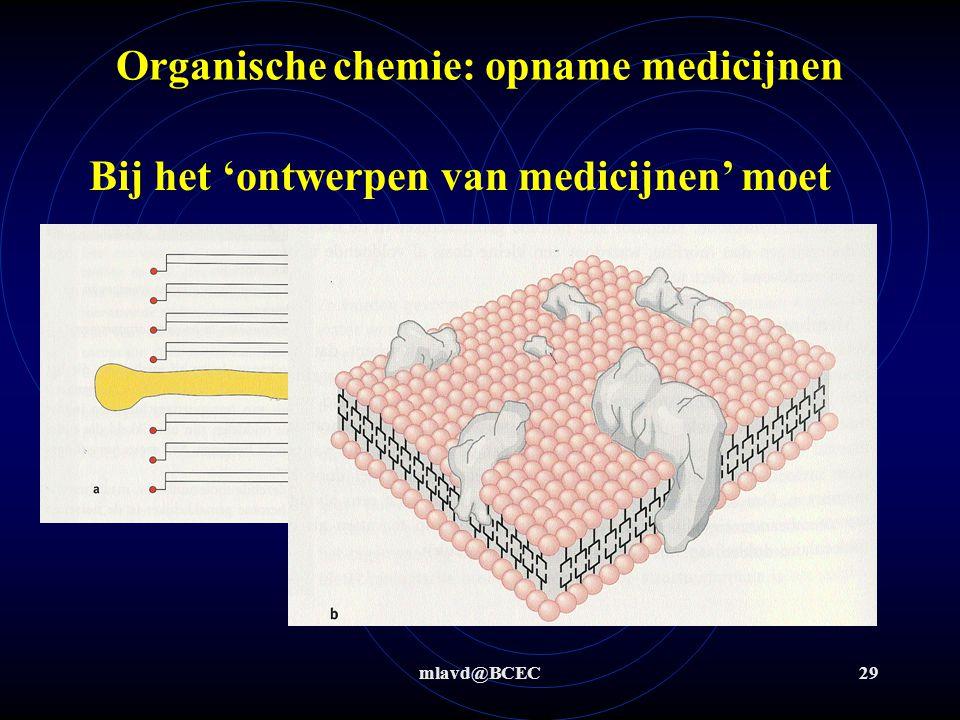 mlavd@BCEC29 Organische chemie: opname medicijnen Bij het 'ontwerpen van medicijnen' moet