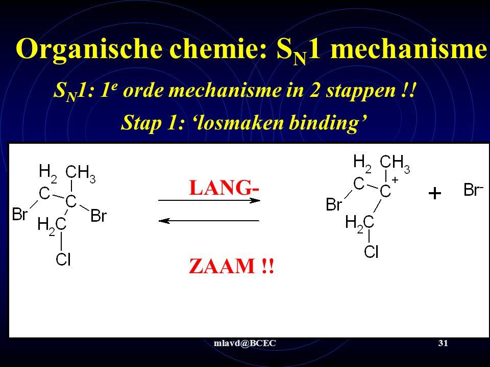 mlavd@BCEC31 Organische chemie: S N 1 mechanisme S N 1: 1 e orde mechanisme in 2 stappen !! Stap 1: 'losmaken binding' LANG- ZAAM !!
