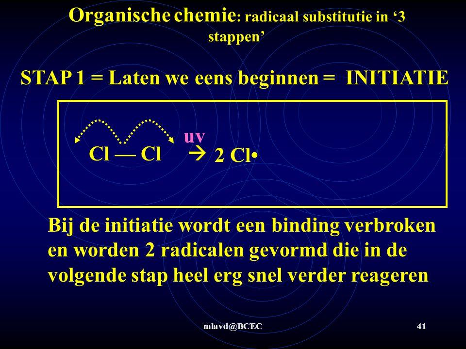 mlavd@BCEC41 Organische chemie : radicaal substitutie in '3 stappen' STAP 1 = Laten we eens beginnen = INITIATIE Cl — Cl  2 Cl Bij de initiatie wordt