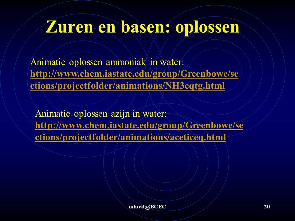 mlavd@BCEC19 Stap 3: NH 3 + H 2 O  NH 4 + + OH - Bv: oplossen ammoniak in water Stap 1+2: ammoniak  Zwakke base (K b < 1) H+H+ Zuren en basen: oplossen