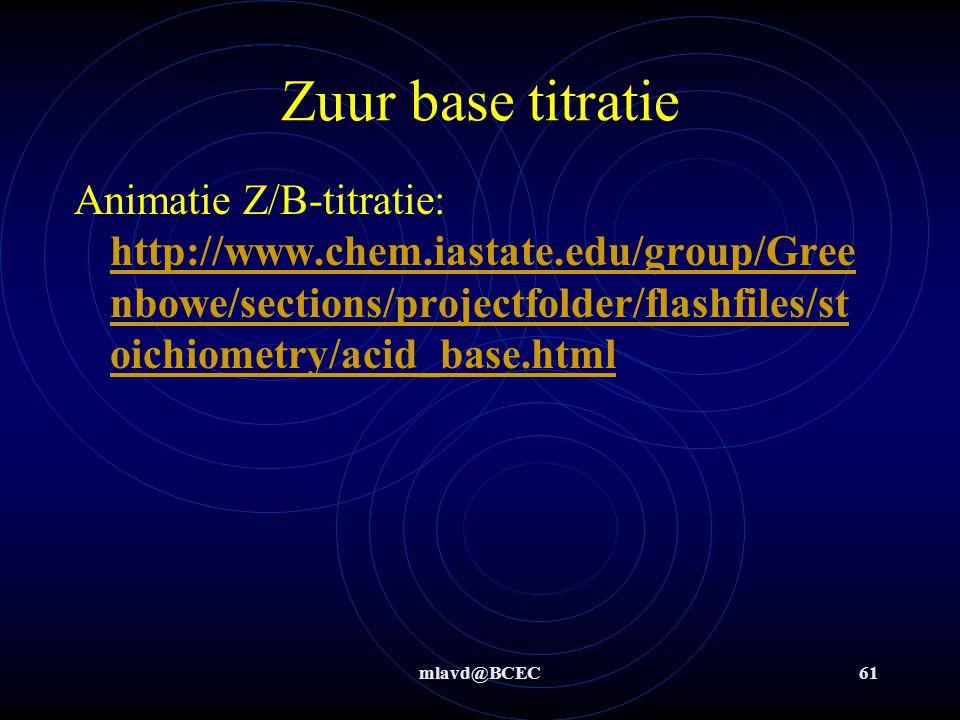 mlavd@BCEC60 Zuur base titratie : titreren van X M NaOH opl met 0,11 M HCl opl Stap 4: tot aan equivalentiepunt is 16,50 mL 0,11 M zoutzuur gebruikt.