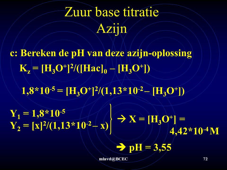 mlavd@BCEC71 Zuur base titratie Azijn Stap 5: 1,135*10 -4 mol OH -  1,135*10 -4 mol CH 3 COOH Stap 6: 100 mL  verdund tot 250 mL  2,5* 1,135*10 -4 mol = 0,00681 g CH 3 COOH/25 mL  0,2724 g CH 3 COOH/L (2,5* verdund)  a) 6,81*10 -2 g CH 3 COOH/L  b) 1,13*10 -2 M CH 3 COOH