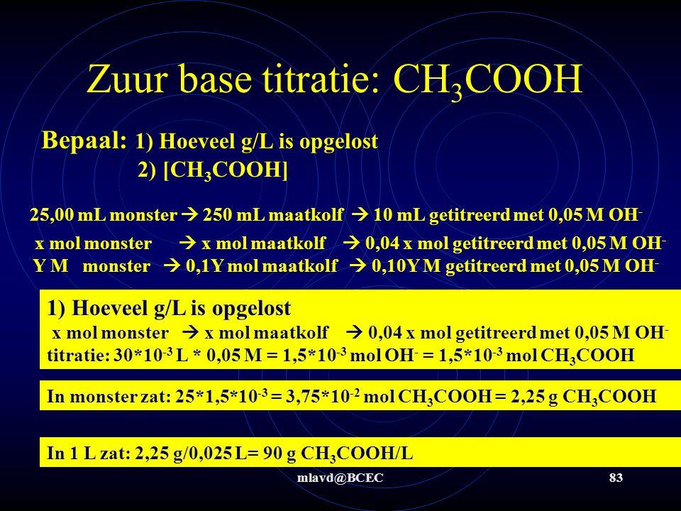 mlavd@BCEC82 Zuur base titratie: CH 3 COOH Titratie gegevens: Er is uit een literfles een monster genomen van 25,00 mL en dit is in een 250 mL maatkolf gepipetteerd en aangevuld tot 250,00 mL met demiwater.