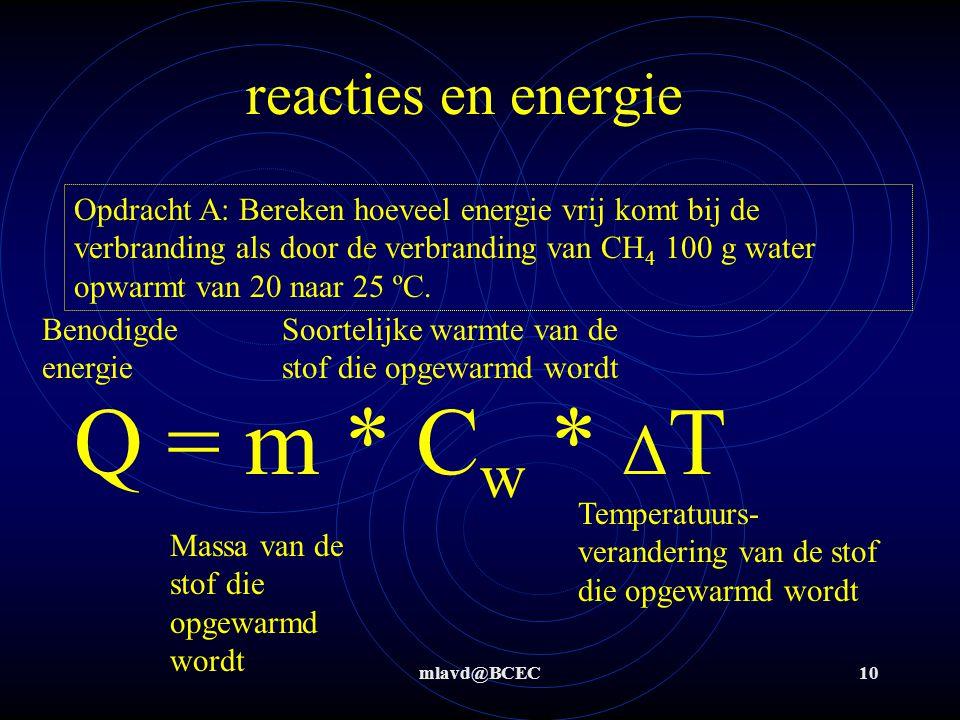 mlavd@BCEC10 reacties en energie Opdracht A: Bereken hoeveel energie vrij komt bij de verbranding als door de verbranding van CH 4 100 g water opwarmt