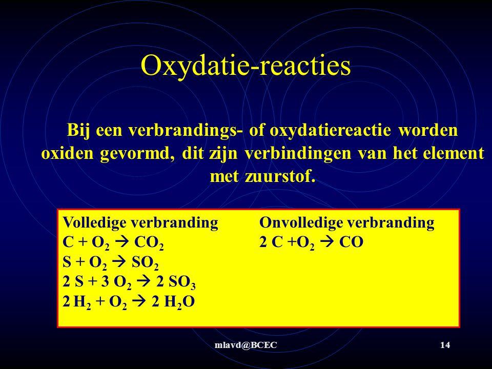 mlavd@BCEC14 Oxydatie-reacties Bij een verbrandings- of oxydatiereactie worden oxiden gevormd, dit zijn verbindingen van het element met zuurstof. Vol