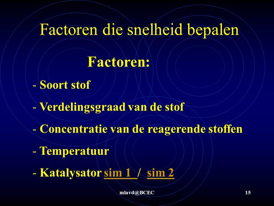 mlavd@BCEC15 Factoren die snelheid bepalen Factoren: - Soort stof - Verdelingsgraad van de stof - Concentratie van de reagerende stoffen - Temperatuur