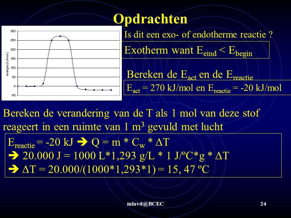 mlavd@BCEC24 Opdrachten Is dit een exo- of endotherme reactie ? Exotherm want E eind < E begin Bereken de E act en de E reactie E act = 270 kJ/mol en