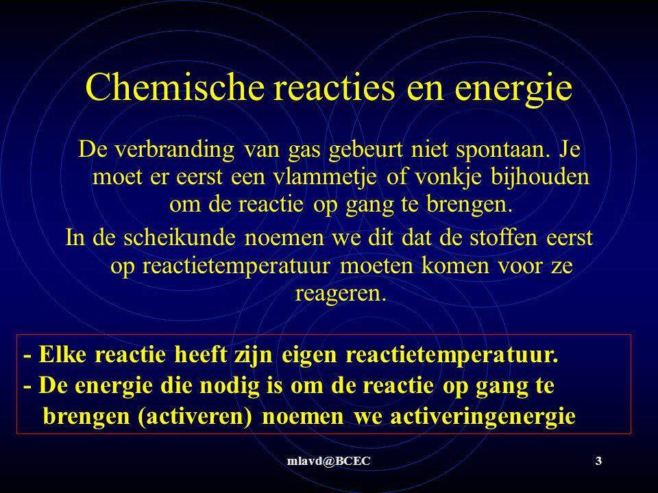 mlavd@BCEC4 Chemische reacties en energie Het tegengestelde van een reactie waarbij energie vrij komt is een reactie die continu energie nodig heeft om te kunnen verlopen.