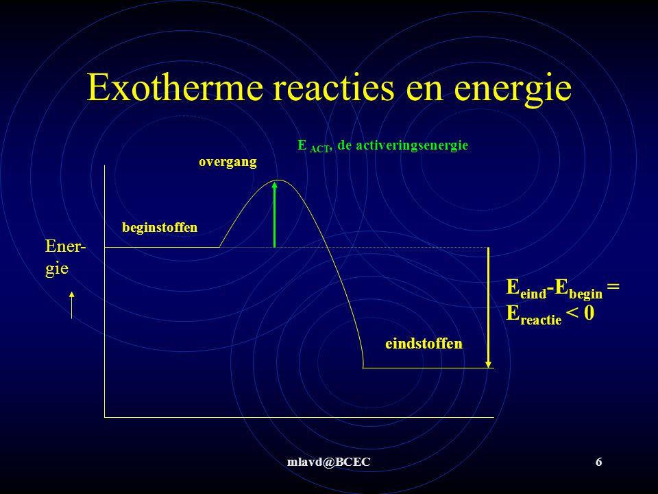 mlavd@BCEC6 Exotherme reacties en energie Ener- gie beginstoffen eindstoffen E eind -E begin = E reactie < 0 E ACT, de activeringsenergie overgang