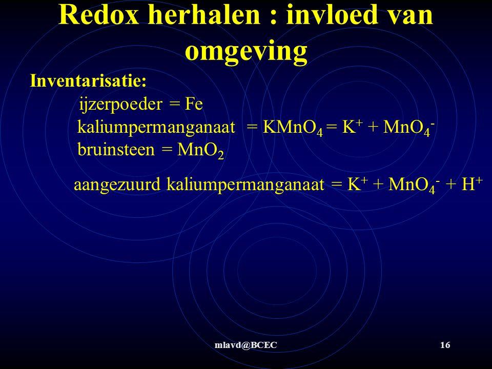 mlavd@BCEC15 Redox herhalen : invloed van omgeving De omgeving heeft uiteraard ook bij andere stoffen invloed op de reactie !!! Verklaar waarom bij he