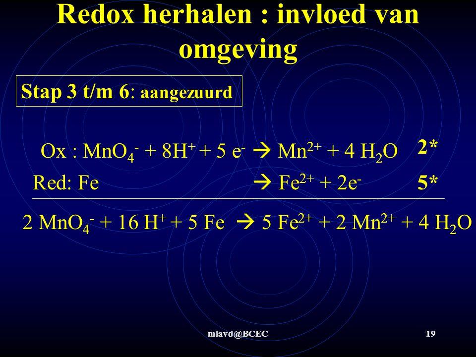 mlavd@BCEC18 Redox herhalen : invloed van omgeving Stap 3 t/m 6: niet aangezuurd Ox : MnO 4 - + 2 H 2 O + 3 e -  MnO 2 + 4 OH - Red: Fe  Fe 2+ + 2e