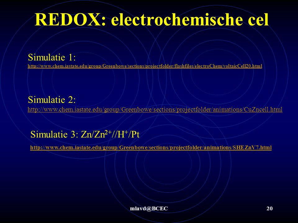 mlavd@BCEC19 Redox herhalen : invloed van omgeving Stap 3 t/m 6: aangezuurd Ox : MnO 4 - + 8H + + 5 e -  Mn 2+ + 4 H 2 O 2* 5* Red: Fe  Fe 2+ + 2e -