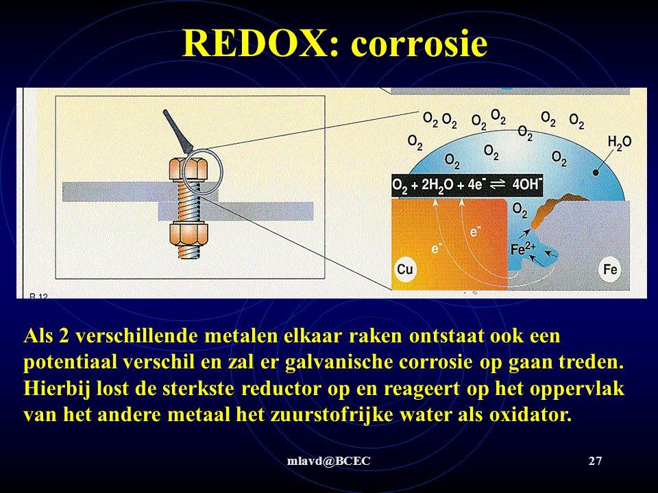 mlavd@BCEC26 REDOX: corrosie Als op metaal waterdruppels aanwezig zijn ontstaat er een elektrochemische cel waardoor ijzer (red) in oplossing gaat en