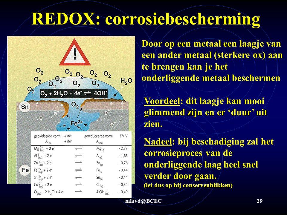 mlavd@BCEC28 REDOX: corrosiebescherming Door op een metaal een laagje van Zn (sterkere red) aan te brengen kan je het onderliggende metaal beschermen