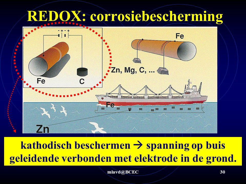 mlavd@BCEC29 REDOX: corrosiebescherming Door op een metaal een laagje van een ander metaal (sterkere ox) aan te brengen kan je het onderliggende metaa