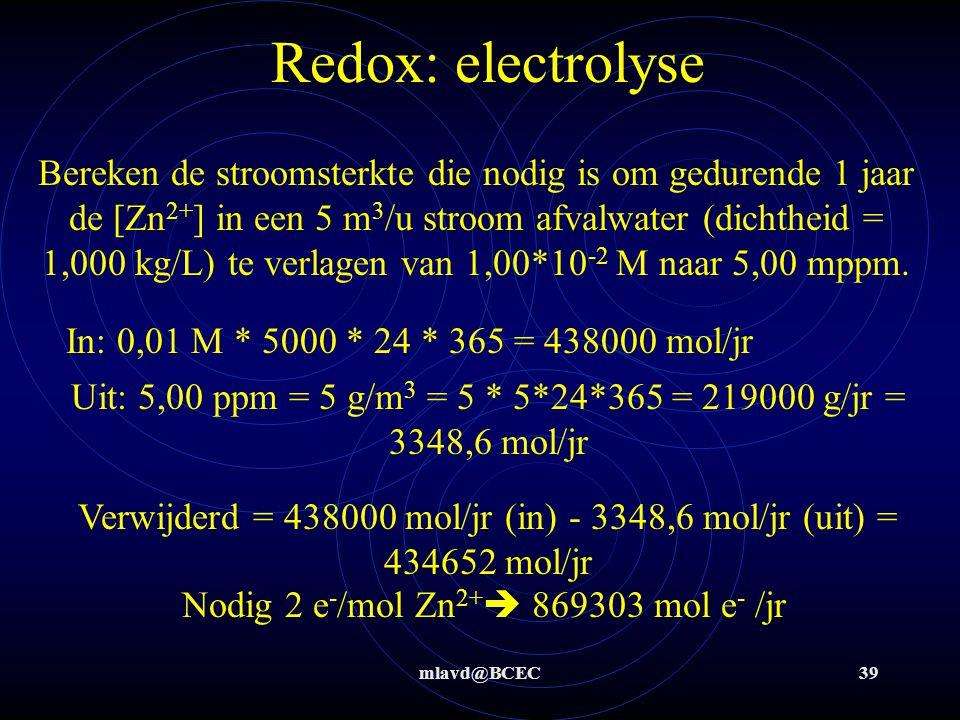 mlavd@BCEC38 Redox: electrolyse Bereken hoeveel gram Cu maximaal neerslaat in 1 uur tijd uit een Cu 2+ -oplossing bij een stroomsterkte van 10,00 A. 1