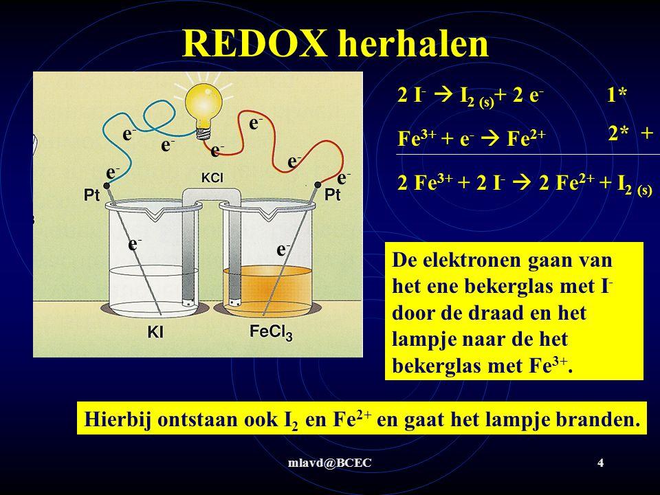 mlavd@BCEC3 REDOX 2 I -  I 2 (s) + 2 e - Fe 3+ + e -  Fe 2+ + 2 Fe 3+ + 2 I -  2 Fe 2+ + I 2 (s) De elektronen gaan van I - naar Fe 3+ waarbij I 2