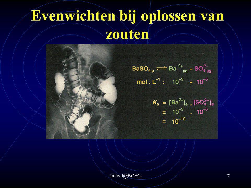 mlavd@BCEC8 Evenwichten bij oplossen van zouten Bereken hoeveel gram neerslag ontstaat als 10,00 gram BaSO 4 wordt toegevoegd aan 2,000 L water stap 2: K s = 1,1*10 -10 (zie Binas)  [Ba 2+ ] = [SO 4 2- ] = 1,05*10 -5 M In 2 L  2,1*10 -5 mol BaSO 4 lost op stap 1: BaSO 4  Ba 2+ + SO 4 2-  K s = [Ba 2+ ]*[SO 4 2- ] stap 3: Toegevoegd: 10 g/233,4 g/mol = 0,04284 mol en in 2 L lost 2,1*10 -5 mol BaSO 4 op  neerslag 0,04284 - 2,1*10 -5 = 0,04282 mol BaSO 4  0,04282 mol * 233,4 g/mol = 9,995 g BaSO 4