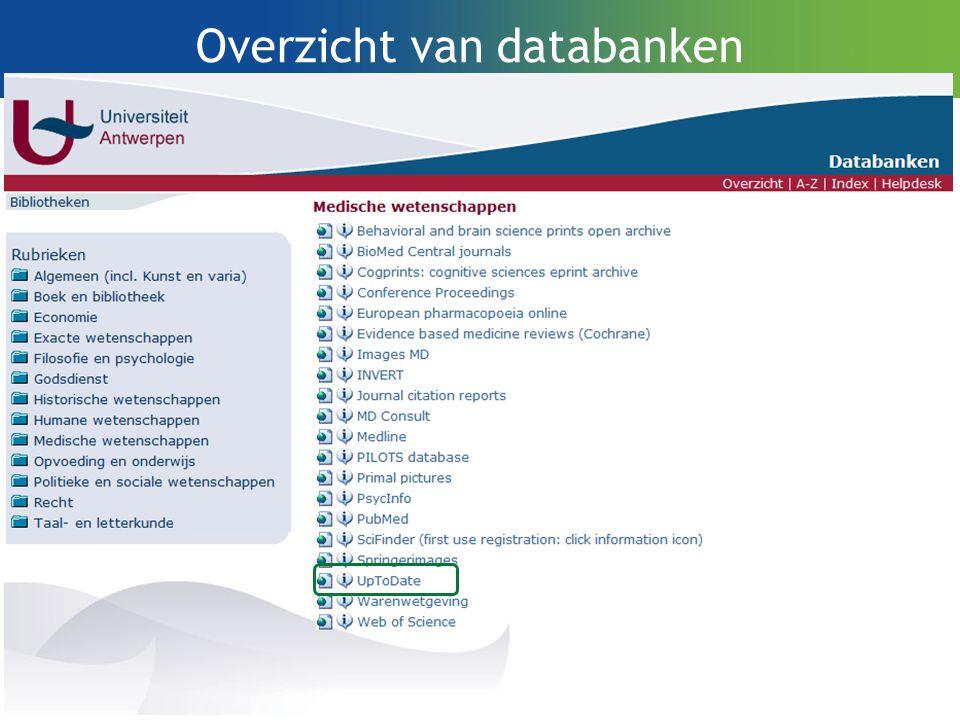 Overzicht van databanken