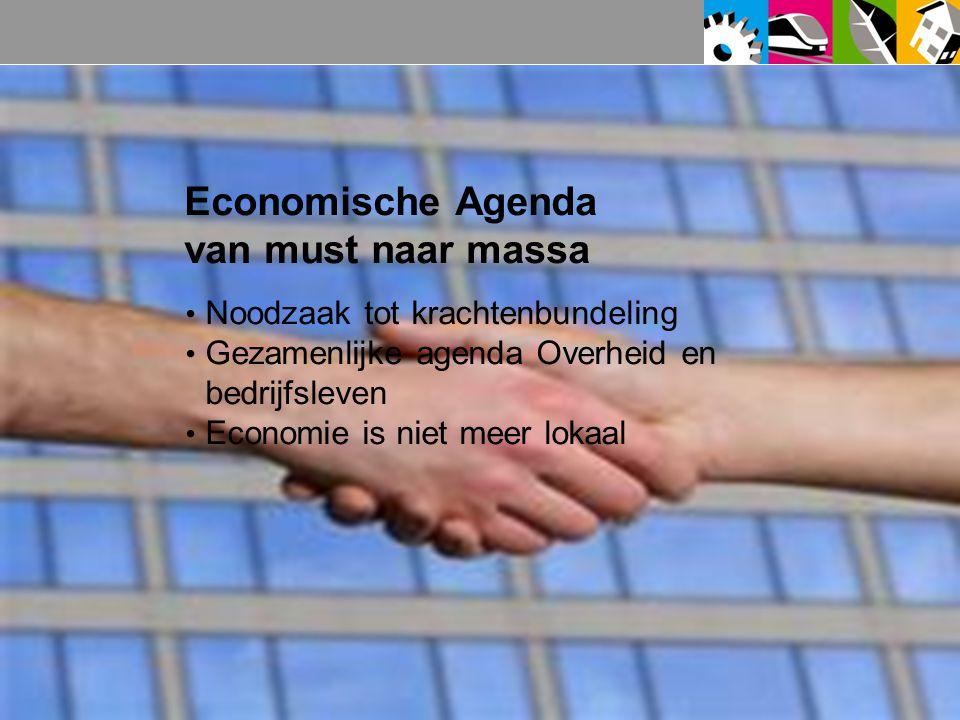 Economische Agenda van must naar massa Noodzaak tot krachtenbundeling Gezamenlijke agenda Overheid en bedrijfsleven Economie is niet meer lokaal