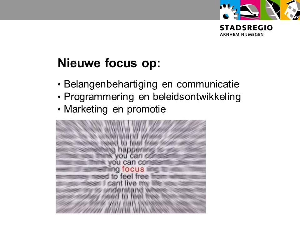 Nieuwe focus op: Belangenbehartiging en communicatie Programmering en beleidsontwikkeling Marketing en promotie