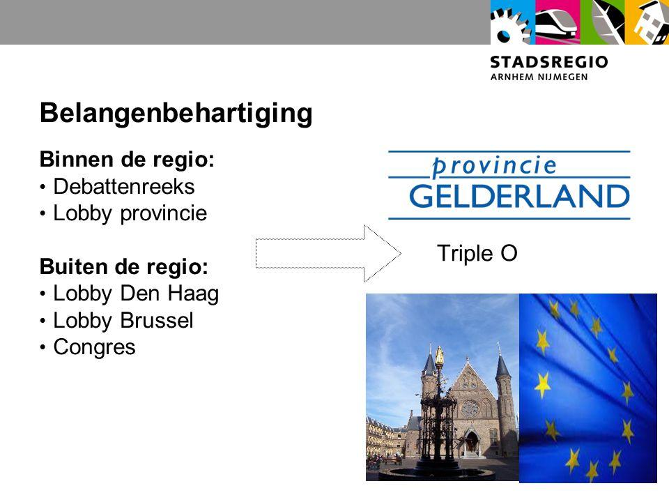 Belangenbehartiging Binnen de regio: Debattenreeks Lobby provincie Buiten de regio: Lobby Den Haag Lobby Brussel Congres Triple O