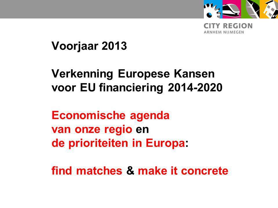 Voorjaar 2013 Verkenning Europese Kansen voor EU financiering 2014-2020 Economische agenda van onze regio en de prioriteiten in Europa: find matches &