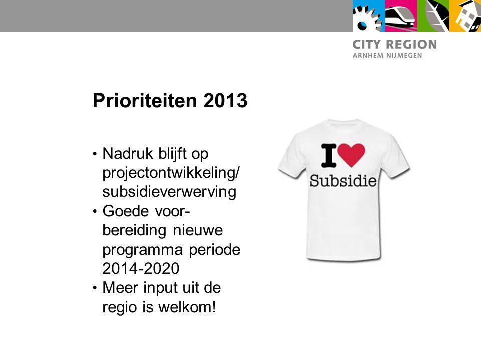 Prioriteiten 2013 Nadruk blijft op projectontwikkeling/ subsidieverwerving Goede voor- bereiding nieuwe programma periode 2014-2020 Meer input uit de