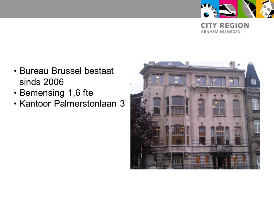 Bureau Brussel bestaat sinds 2006 Bemensing 1,6 fte Kantoor Palmerstonlaan 3