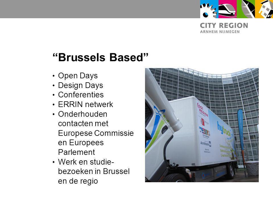 """Brussels Based"" Open Days Design Days Conferenties ERRIN netwerk Onderhouden contacten met Europese Commissie en Europees Parlement Werk en studie- b"