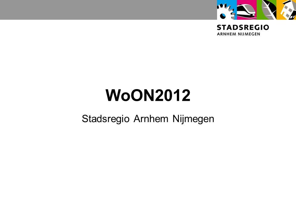 Gebruik WoON2012 door stadsregio Korte termijn analyse Input voor Socrates 2013 Daarnaast heeft elke gemeente zelf de beschikking over gegevens op subregioniveau