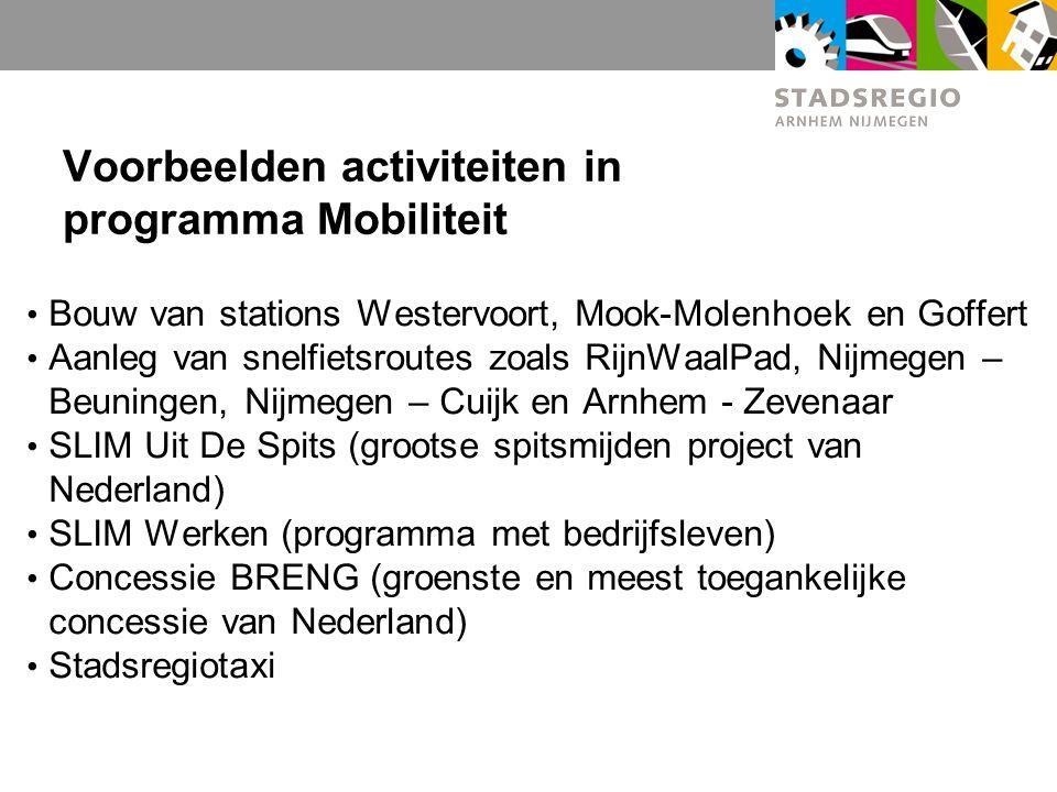 Voorbeelden activiteiten in programma Mobiliteit Bouw van stations Westervoort, Mook-Molenhoek en Goffert Aanleg van snelfietsroutes zoals RijnWaalPad