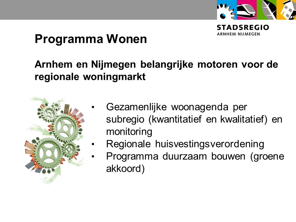 Programma Wonen Arnhem en Nijmegen belangrijke motoren voor de regionale woningmarkt Gezamenlijke woonagenda per subregio (kwantitatief en kwalitatief